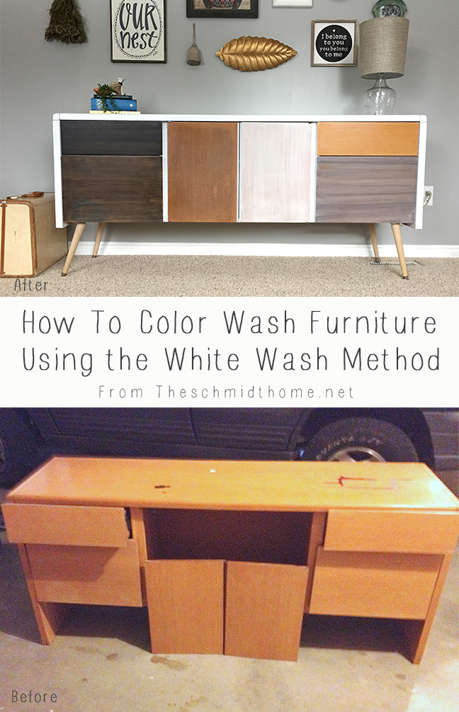 Credenza Makeover White Wash Method