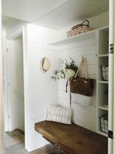 Upcycling a hall closet to a functional mudroom.