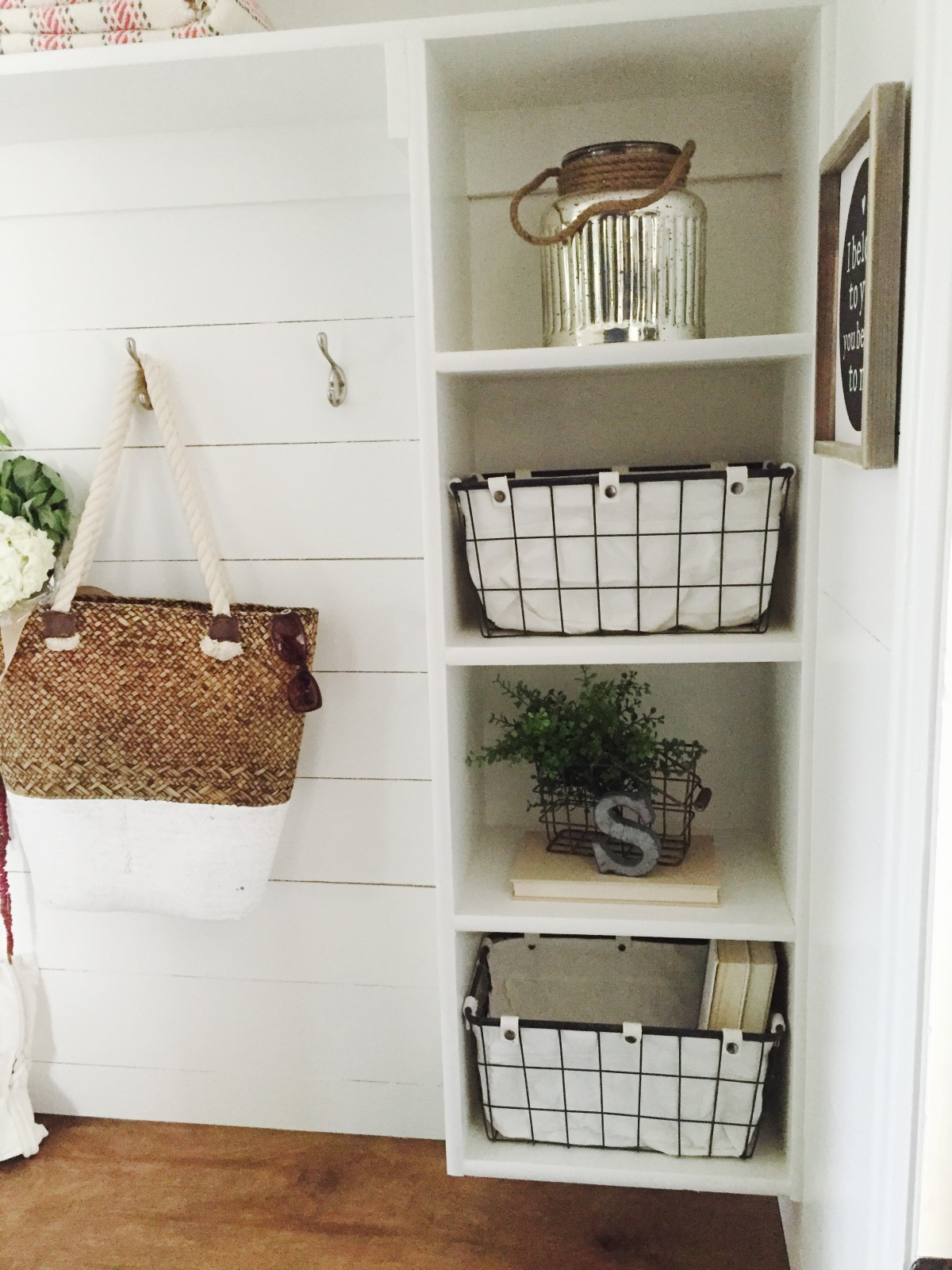 From hallway closet to mudroom, this functional and stylish farmhouse mudroom is perfect!
