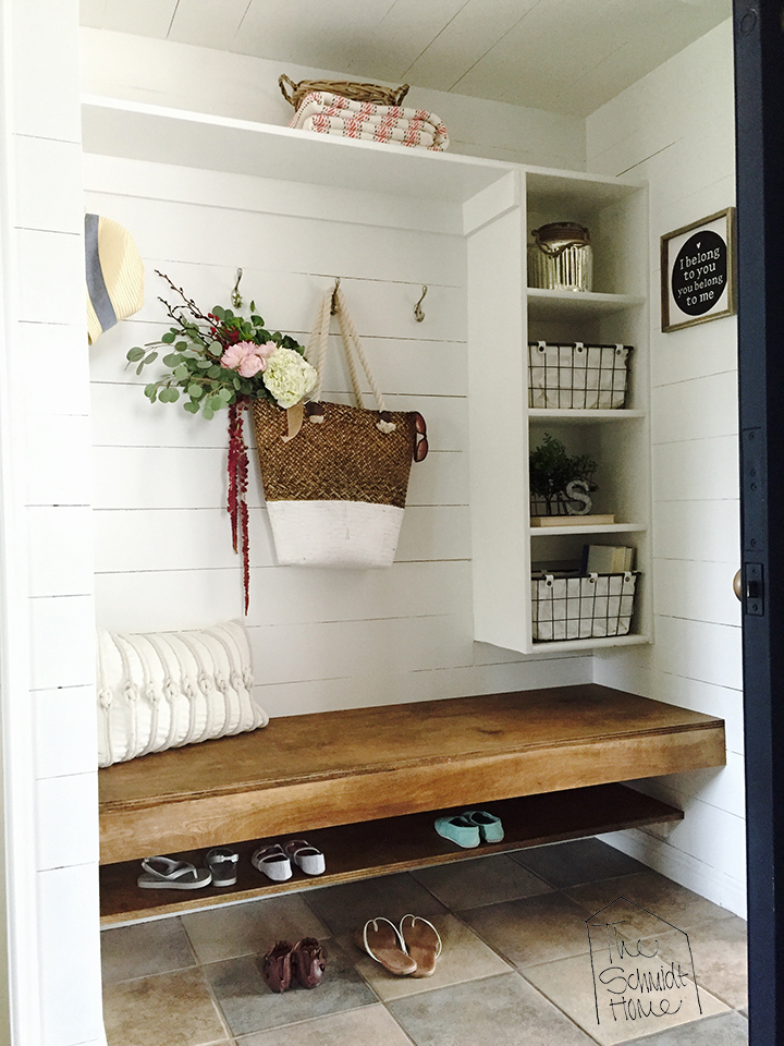 Closet to Mudroom - Tutorial for how to turn a hallway closet into a gorgeous and functional mudroom.