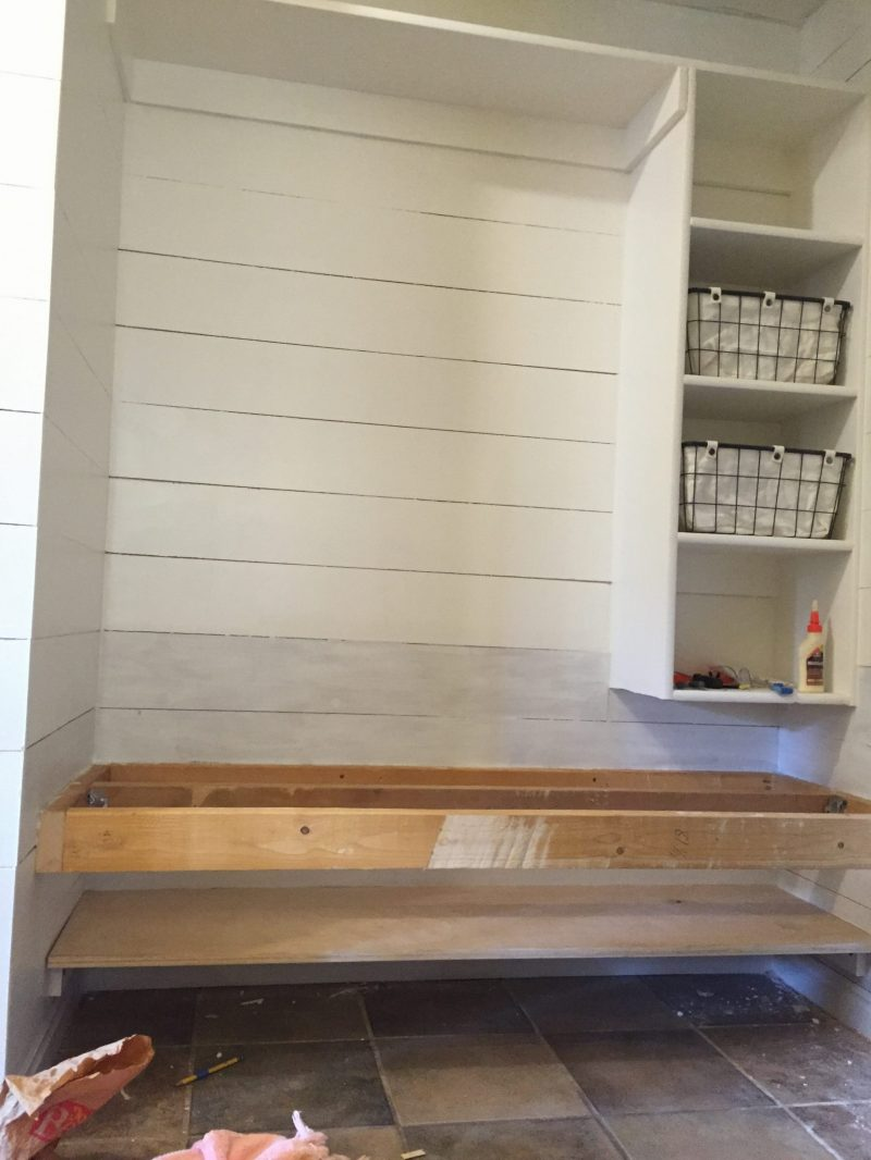 How to build a floating bench for a mudroom. This space was once a hall closet!