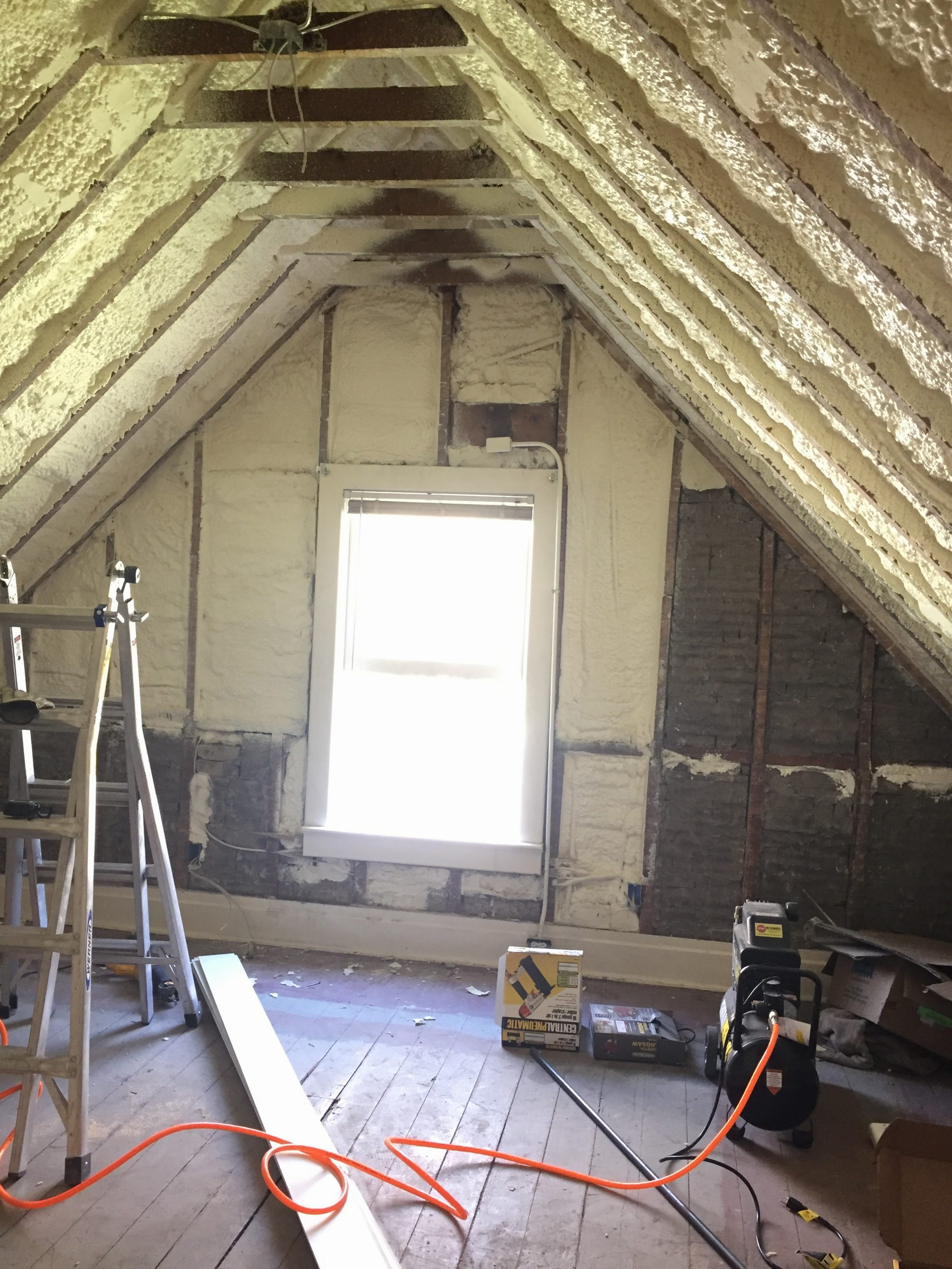 Spray Foam Insulation in the Attic Bedroom Rafters