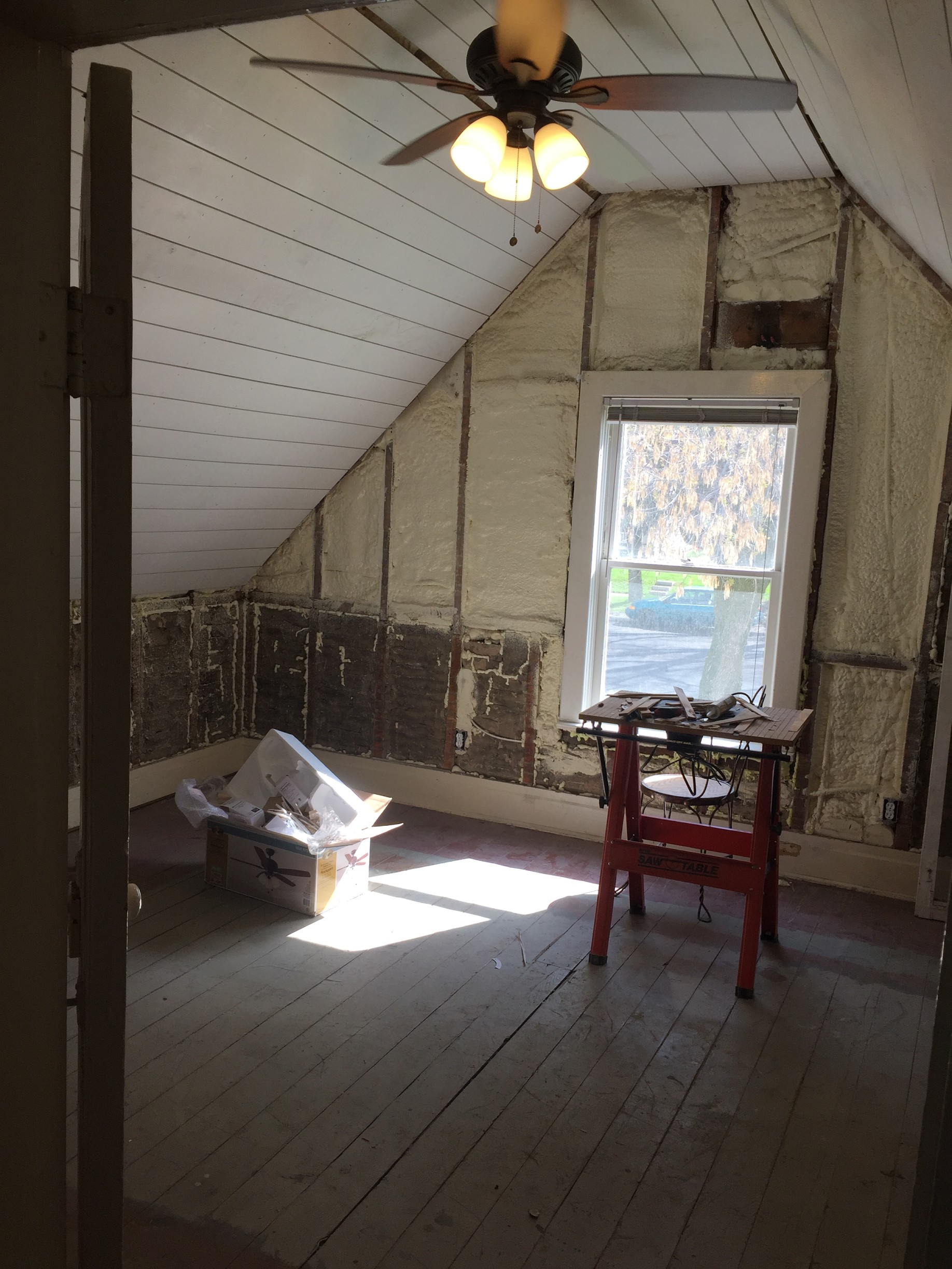 Attic Bedroom with Vaulted Shiplap Ceiling