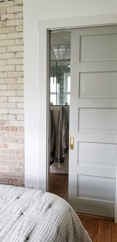 Soft close pocket door color Silver Celadon from Home Depot